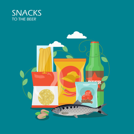 Snacks to the beer vector flat style design illustration
