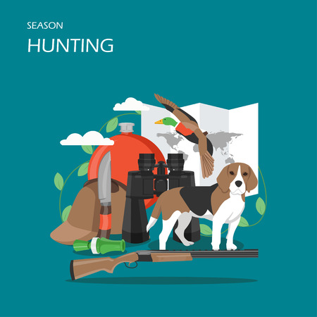 Hunting season vector flat style design illustration Çizim