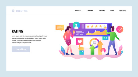 Vector web site design template. Customer review and rating, client satisfaction management, customer survey. Landing page concepts for website and mobile development. Modern flat illustration