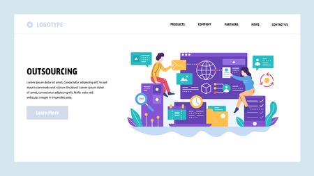 Modello di progettazione del sito web di vettore. Outsourcing e sviluppo software. Team che lavora con un nuovo progetto. Concetti di pagina di destinazione per lo sviluppo di siti Web e dispositivi mobili. Illustrazione piatta moderna.