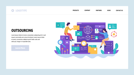 Vector web site design template. Outsourcing and software development. Team working with new project. Landing page concepts for website and mobile development. Modern flat illustration.