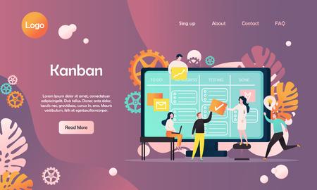 Kanban vector website landing page design template