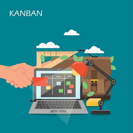 Kanban concept vector flat style design illustration Vector Illustratie