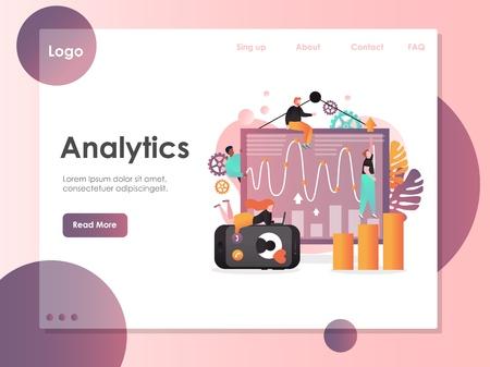 Analytics vector website landing page design template
