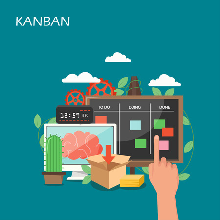 Kanban concept vector flat style design illustration Vektorové ilustrace