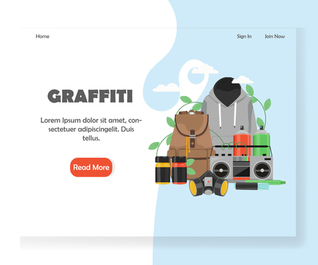 Graffiti vector website landing page design template