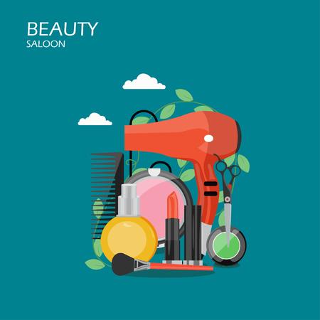 Beauty saloon vector flat style design illustration Stock Vector - 118930375