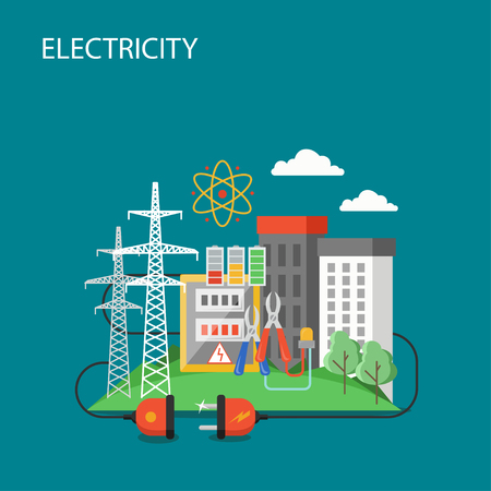 Electricity vector flat style design illustration. High voltage power lines and city buildings connected to electric plug. Electric power transmission concept for web banner, website page etc.