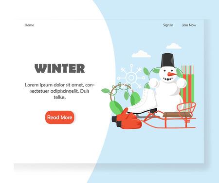 Winter vector website landing page design template