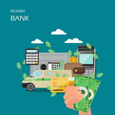 Reliable bank vector flat style design illustration. Hand holding money, armored bank car, safe deposit box, plastic card, wallet, calculator etc. Reliable savings concept for web banner, website page Foto de archivo - 124490081