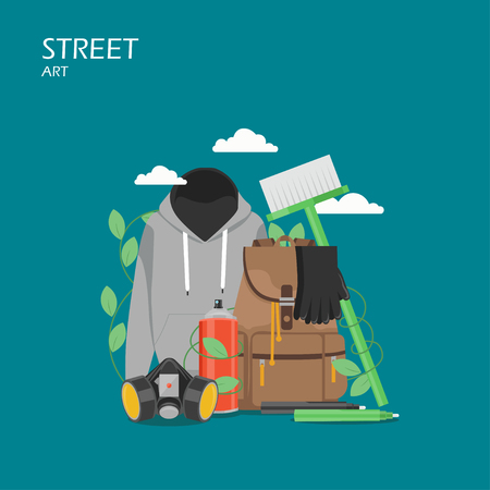 Street art vector flat style design illustration. Paint spray can, markers, hoodie, gloves, mask, backpack, cleaning brush. Graffiti art tools and accessories for web banner, website page etc. Vettoriali