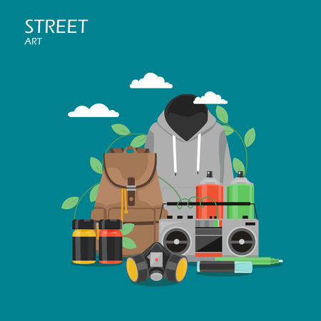Street art vector flat style design illustration. Paint spray cans and jars, markers, hoodie, mask, backpack. Graffiti art tools and accessories for web banner, website page etc. Vettoriali