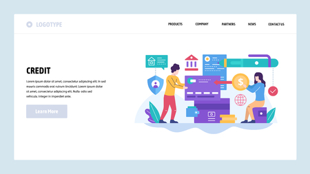 Vector web site design template. Credit card and digital banking, home finance, money payment. Landing page concepts for website and mobile development. Modern flat illustration