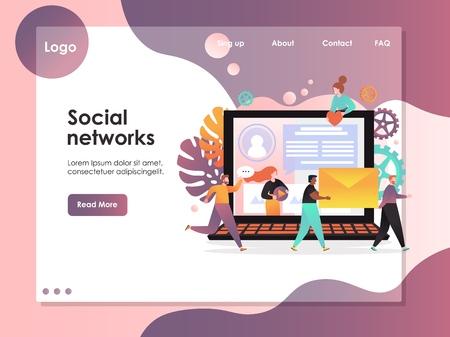 Social networks vector website landing page design template