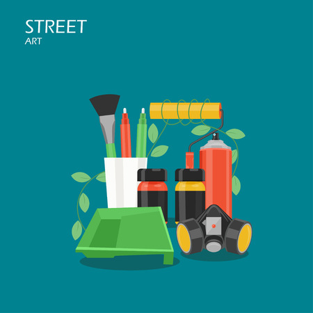 Street art vector flat style design illustration