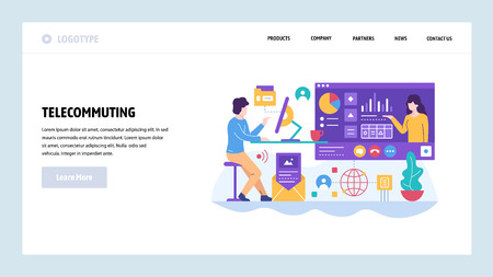 Vector web site design template. Telecommuting, home office, remote business office, work at home. Landing page concepts for website and mobile development. Modern flat illustration Illustration