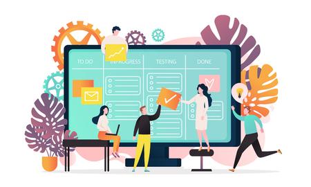 Vector illustration of big computer and programmer team moving cards on electronic kanban task board. Online kanban board app, agile visual project management method, teamwork concepts. Vector Illustratie