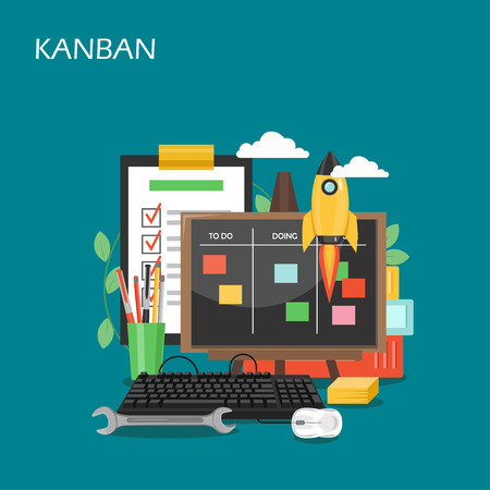 Kanban concept vector flat style design illustration 向量圖像