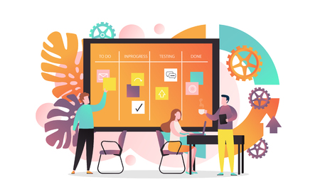 Vector illustration of creative team developing software using agile kanban methodology with cards they move on board from start to finish the process. Agile concept for web banner, website page etc. 向量圖像