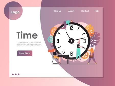 Time vector website landing page design template Vektorové ilustrace