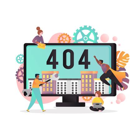 404 page not found error vector concept illustration Illustration