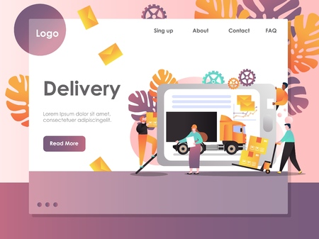 Delivery vector website landing page design template
