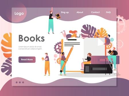 Books vector website landing page design template Vector Illustration