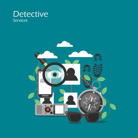 Detective services vector flat style design illustration Ilustración de vector