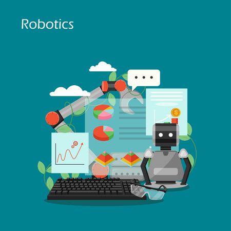 Robotics concept vector flat style design illustration