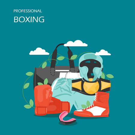 Professional boxing vector flat style design illustration