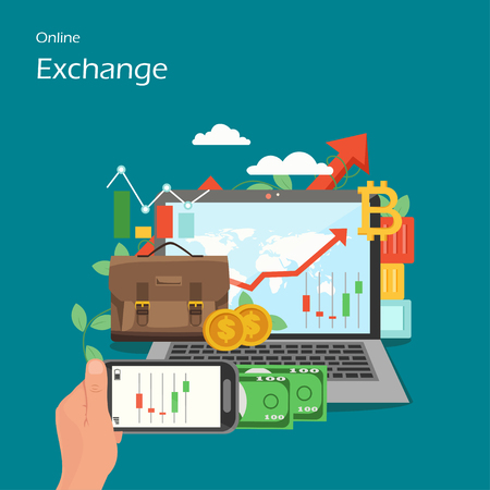 Online exchange vector flat style design illustration
