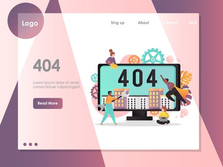 404 page not found error vector website landing page template Illustration