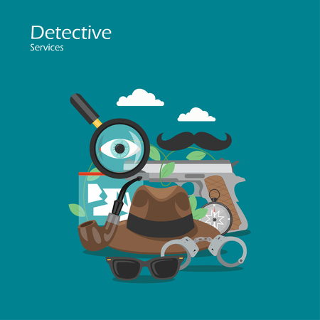 Detective services vector flat style design illustration Ilustracja