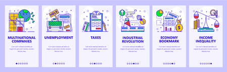 Mobile app onboarding screens. Business, industry and economy. Unemployment rate, taxes, income. Menu vector banner template for website and mobile development. Web site design flat illustration. Vector Illustration