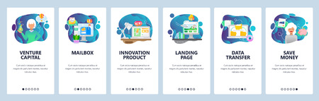 Mobile app onboarding screens. Female venture capitalist, investment, startup, email inbox, data sync and landing page. Menu vector banner template for website and mobile development. Web site design flat illustration. 矢量图像