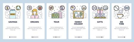 Mobile app onboarding screens. Money savings, travel bag, family portrait, me time. Menu vector banner template for website and mobile development. Web site design flat illustration 일러스트
