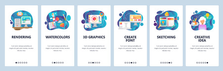 Mobile app onboarding screens. Digital art and watercolor painting, 3d rendering, sketching, font. Menu vector banner template for website and mobile development. Web site design flat illustration Çizim