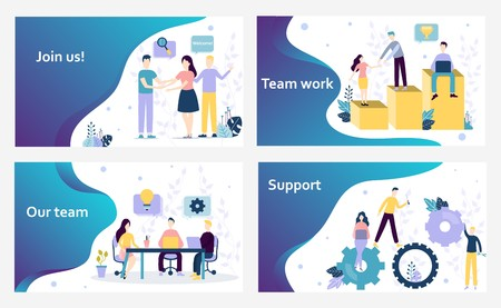 Vector web site design template. We are hiring and Join Us landing pages, teamwork in office, support, business. Concepts for website and mobile development. Modern flat illustration