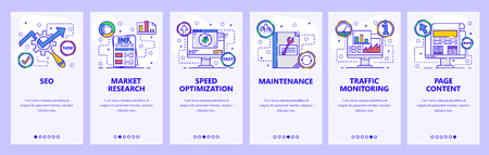 Mobile app onboarding screens. SEO and speed optimization, page content, traffic analysis. Menu vector banner template for website and mobile development. Web site design flat illustration Vectores