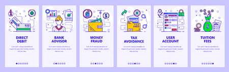 Mobile app onboarding screens. Banking, money fraud, bank advisor and tax avoidance. Menu vector banner template for website and mobile development. Web site design flat illustration