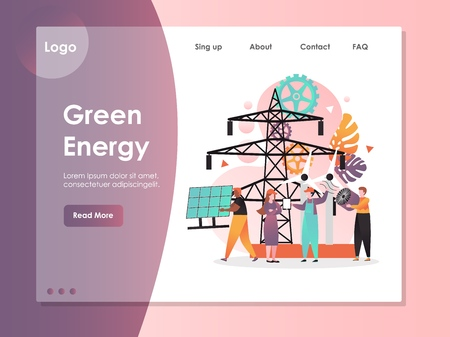 Green energy vector website template, web page and landing page design for website and mobile site development. Alternative clean energy and electricity concept.