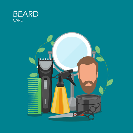 Beard care vector flat style design illustration. Comb, hair shaving machine, scissors, water spray bottle, mirror, aftershave cream. Beard grooming, trimming products for web banner website page etc. Ilustración de vector