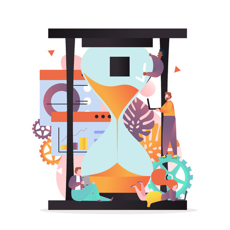 Vector illustration of big hourglass and tiny people employees engaged in their work. Effective time management, deadline, scheduling concept for web banner, website page etc.