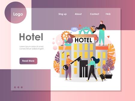 Modèle de site Web vectoriel d'hôtel, conception de page Web et de page de destination pour le développement de sites Web et de sites mobiles. Concept de services hôteliers avec un homme donnant une grosse clé à une femme voyageuse avec des bagages. Vecteurs