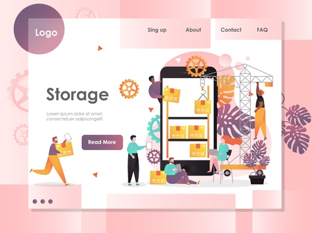 Storage vector website template, web page and landing page design for website and mobile site development. Mobile application for warehouse manager.