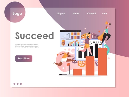 Succeed vector website template, web page and landing page design for website and mobile site development. Superhero businessman holding golden cup, men running to finish, jumping over barrier. 矢量图像