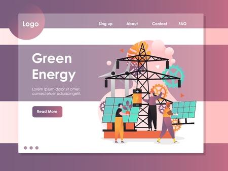 Modello di sito Web vettoriale di energia verde, pagina Web e design della pagina di destinazione per lo sviluppo di siti Web e dispositivi mobili. Fonti di energia pulita verde, concetto di generazione di elettricità rinnovabile. Vettoriali