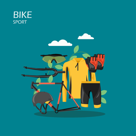 Sport bike vector flat style design illustration. Bicycle frame, cycling apparel, protective helmet, sunglasses and gloves. Cycling clothes and bicycle parts composition for web banner, website page.