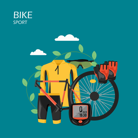 Sport bike vector flat style design illustration. Bicycle frame, wheel, cycling apparel, protective sunglasses and gloves. Cycling clothes and bicycle parts composition for web banner, website page.