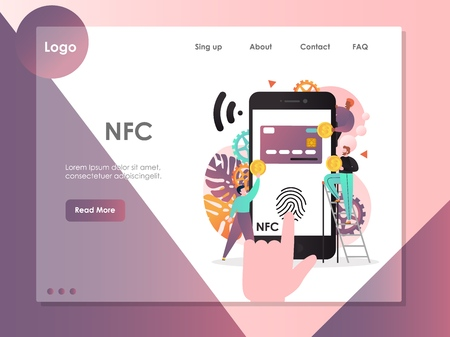 NFC vector website template, web page and landing page design for website and mobile site development. Near field communication technology, smartphone with nfc function concept. Illustration